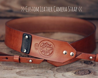 Custom Leather Camera Strap, Handmade personalized gift, Brown stain, retro, hipster, compass, Custom text, name initials