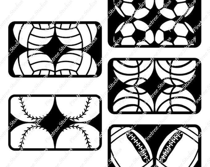 Sports Balls SVG Digital Download ~ 5 Images / Cuttable / Clip Art / Stencil / Silhouette / Cricut / Printable / Color Book / Decal