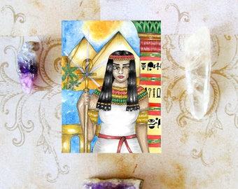 Goddess Art Egyptian Priestess Prayer Card Kemetic Fantasy Ancient Egypt Pagan Art Magick Mythology Spiritual Art Sacred Divine Feminine