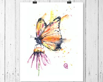 Butterfly art print of watercolour painting by Lisa Whitehouse, Garden Art, Gift for her, gift under 20. Monarch, Living room decor,wall art
