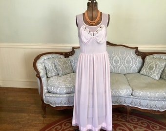 1960s Nylon Nightgown / Blush Pink Nightgown / Vintage Nightgown / Long Nightgown