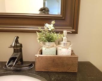 2pc Mason Jar Bath Set in Wooden Box