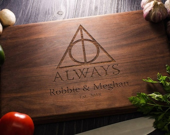 Harry Potter ALWAYS, Personalized Cutting Board, Family Sign, Established sign, Custom cutting boards - Wedding Gift harry07