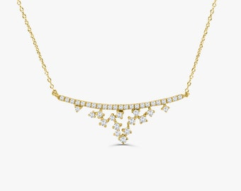 Diamond Bar Necklace / 14k Gold Diamond Layering Necklace / April Birthstone / Diamond Necklace / Diamond Pendant / Graduation Gift