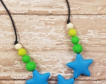 Teething Necklace, Nursing necklace, sensory necklace, silicone necklace, chewelry, sensory play, mom necklace
