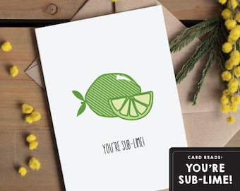 I love you card / Valentines Card / Love Greetings Card / Anniversary Card - You're sublime  - Edible pun card - I fancy you, youre awesome