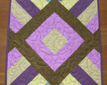 Quilted Table Topper Purple Green, Purple Green Table Runner, Modern Table Topper, Modern Table Runner, Purple Quilt, Quiltsy Handmade