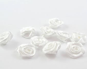 10 small 15 mm white satin flowers