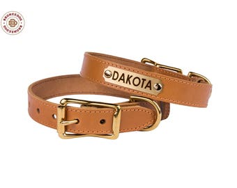 Engraved ID Tag Dog Collar Leather Personalized Brass Buckle Small Large