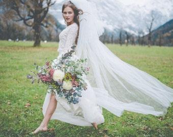 Schlichter, eleganter Brautschleier Hochzeit- Kathedralenlänge - Olive