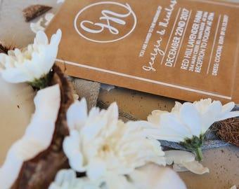 Acrylic wedding invitation, laser engraved acrylic stationery. Pack of 10