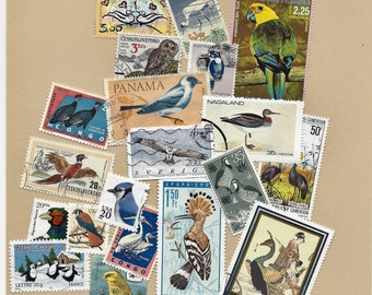 BIRD(40) Postage Stamps, Vintage Stamps, Antique Stamps, Worldwide, All Canceled, Paper Supplies, Scrapbooking