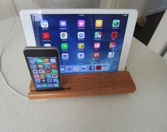 iPhone iPad Dual Docking station Handmade solid Tasmanian Timber