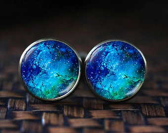 Deep blue Nebula cufflinks, Blue cufflinks, Space cufflinks, underwater cufflinks, water cufflinks, Nebula cuff links