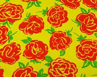 "Bright Yellow/Crimson Red/Multi Floral Rayon Challis 44"" Wide"