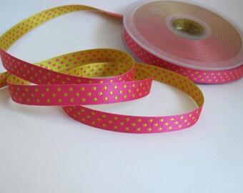 Polka Dots ELOISE 3 yards Jacquard trim. REVERSIBLE. Lemon and Shocking Pink. 3/8 inch wide. 928-E Narrow ribbon trim