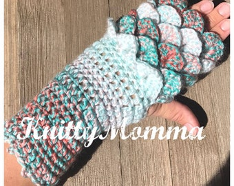 Dragon Scale Gloves PATTERN - Fingerless Gloves - Dragon Scales - Dragon Fingerless Mittens - Crochet Pattern - Adult Gloves Pattern