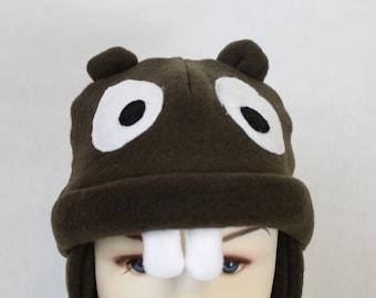 Baby and Kids Beaver Fleece Hat, Baby Beaver Hat, Child Size Beaver Hat,Kids Winter Beaver Hat,Kids Animal Hat,Fun Kids Hat