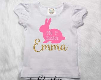 Personalized First Easter Shirt, Easter Bunny Shirt, Custom Easter Hunt Shirt, Pink Easter T-Shirt, Girls Easter Outfit, Pink Easter Tee P19