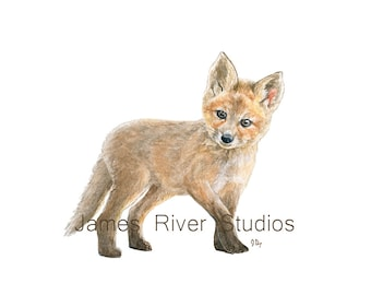 Fox Art Fox Painting Fox Print Baby Fox Watercolor Baby Animal Painting Baby Fox Nursery Art Children Art Woodland Animal Forest Animal Art