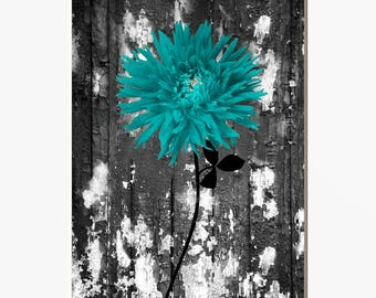 Perfect Rustic Teal Wall Decor, Teal Floral, Teal Rustic Flower, Teal Pictures, Teal  Home Decor Matted Picture