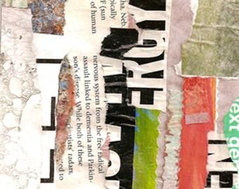 Haute énergie - Collage Original avec patiné et à la main dessinés et peints papiers 4 x 4 sur 5 x 5» support