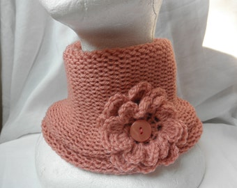 Salmon pink  neck warmer,without seam,blend wool,with brooch,accessories,