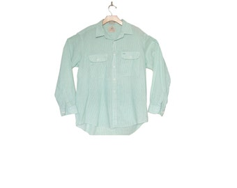 Men's Vintage 80s Pinstripe Work Shirt size Large