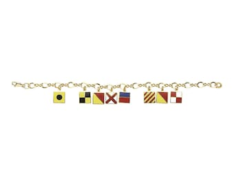 "Nautical Code Flag Bracelet, spells out ""I Love You"", Gold"