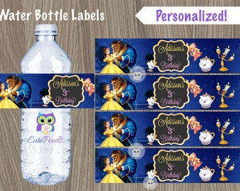 Beauty and Beast Water Bottle Label, Princess Belle Water Bottle Label, Disney Princess Birthday, Disney Princess, Beauty and Beast decor
