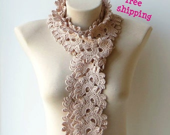 Lace scarf, Lace knit scarf, Hand crochet scarf, Spring scarf, Soft scarf, Lightweight scarf, Scarf women, Beige knit scarf, Summer scarf.