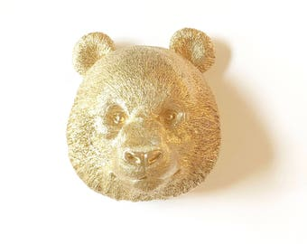 GOLD Large Faux Taxidermy Panda Bear Wall Mount Faux Animal Head painted in GOLD / Girls Room decor Kids Room decor Office Wildlife decor