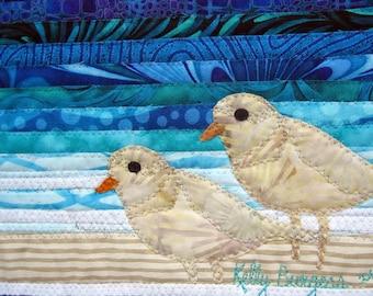 Plover Card, Free Shipping, Beach, Ocean, Plovers, Sand Plovers, Fabric Art Card, Kelly Burgess, Nova Scotia, Shoreline Bird, Save Plovers