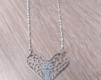 Silver necklace and heart OWL