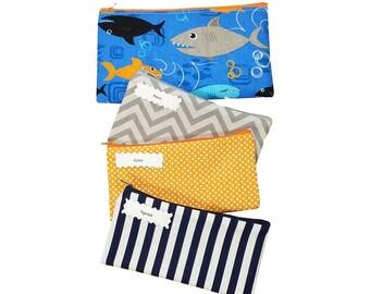 Kids Cash Envelope Wallet, Kids Cash Budget System, Give, Save, Spend -Sharks on Blue-