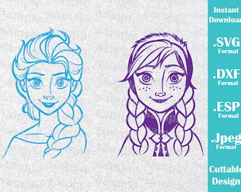 INSTANT DOWNLOAD SVG Disney Inspired Elsa and Anna from Frozen Movie for Cutting Machines Svg, Esp, Dxf and Jpeg Format Cricut Silhouette