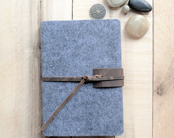 Wool & Leather Journal, Gray, Monogrammed, Distressed Rustic Leather Tie, Unlined Blank, Sketchbook, Personalized, Custom Made, Gift for Him
