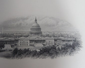 US Capitol Building - Bureau of Engraving and Printing engraving 1960s