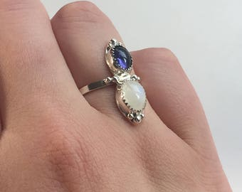 Size 7: Moonstone and Iolite silver ring