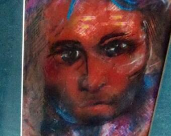 original art color pencil portrait drawing 11x14 haunted person