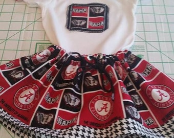 Alabama Crimson Tide Inspired Game Day Skirt Set