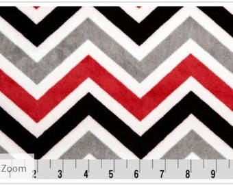 Minky Fabric, Red and black Zig Zag cuddle fabric, Chevron cuddle from Shannon Fabrics