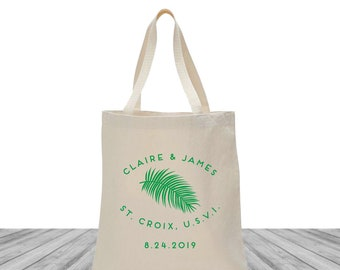 Welcome Bags, Tote Bags, Wedding Bags, Custom Totes, Destination Wedding Bags, Tropical Wedding, Palm Tote, St Croix Wedding, 1495