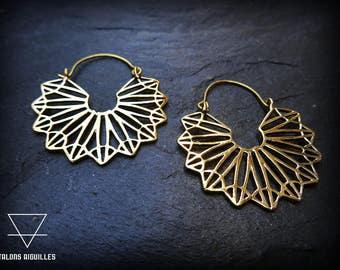 Boucles d'oreille laiton # ethnic brass earing # geometric pattern # tribal hoop earrings 40-579