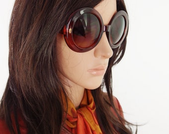 Round Oversized 60s Style Reproduction Sunglasses In Cinnamon