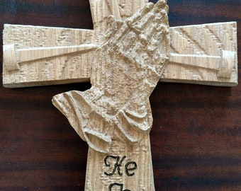 "Custom Wood Cross Plaque with Praying Hands - ""He is Risen"""