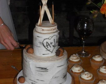 Rustic Birch Ski Wedding Cake Topper - Special order with woodburning