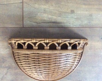 Vintage 1978 Homco Faux Wicker Basket Wall Decor made by Dart Industries