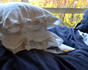 Antique white natural stonewashed linen pillow case with ties. Standard and King sizes. Pure linen bedding