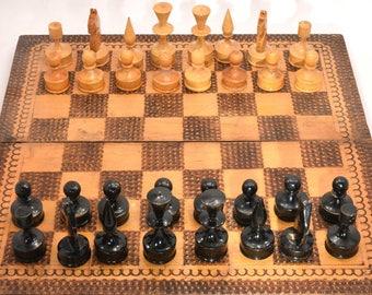 Vintage Wooden Chess Set Medium size Board Bulgaria 1960s
